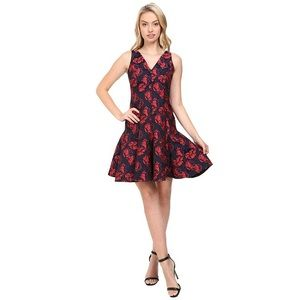 NWT Maggy London Shadow Floral Jacquard Dress